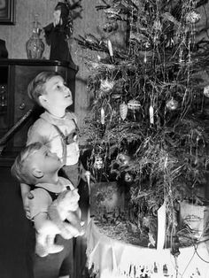 Photographic Print: Two Brothers Look at a Christmas Tree in their Living Room in Germany, Ca. Vintage Christmas Photos, Xmas Photos, Antique Christmas, Retro Christmas, Vintage Holiday, Christmas Pictures, Vintage Photos, Old Time Christmas, Old Fashioned Christmas