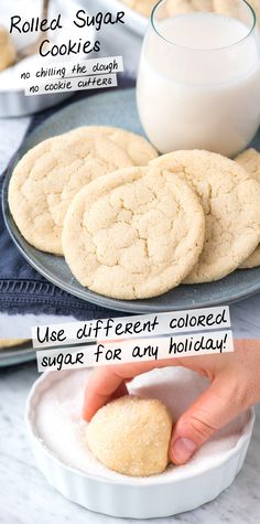Rolled sugar cookies are a classic sugar cookie recipe that's easy to make because they are rolled in sugar before baking. You don't chill the dough or use cookie cutters for this drop sugar cookie recipe. Roll the cookies in colored sanding sugar for different holidays! #rolledsugarcookies #sugarcookies #christmassugarcookies #dropcookies