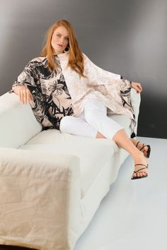Elegance and style. Selection. Poncho blouse. Click it. Special Events, Special Occasion, Leaf Prints, The Selection, Bell Sleeve Top, Tunic, Elegant, Blouse, Clothes