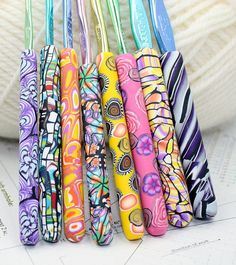 Polymer clay covered crochet hook set of 8 by rivervalleydesign