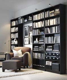 BILLY is great for a  wall-to-wall library, or make a combination where you can mix in your TV and family photos.