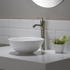 $100 Kraus KCV-341 Elavo White Ceramic Small Round Vessel Bathroom Sink - - Amazon.com