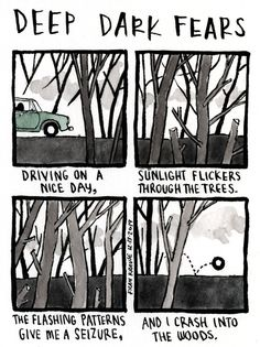 Through the trees. A fear submitted by Jada to Deep Dark Fears - thanks! You can pick up signed copies of my Deep Dark Fears hardcover books at my store! Fear Book, Deep Dark Fears, Run To The Hills, Morning Light, Jada, Good Day, Give It To Me, Creepy Things, Scary Stuff