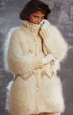 Fluffy and Bulky Mohair Lover Wool Coat, Fur Coat, Gros Pull Mohair, Angora, Knitwear, Sweaters, Cardigans, Female, Knitting