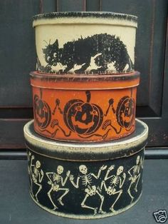vintage halloween primitive painted nesting boxes 1 set ebay - Ebay Halloween Decorations