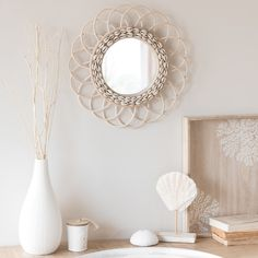 Round Rattan Mirror D 40 Living Room Decor, Bedroom Decor, Wall Decor, Rattan, Bamboo Light, Bleached Wood, D 40, Bohemian Decor, Boho