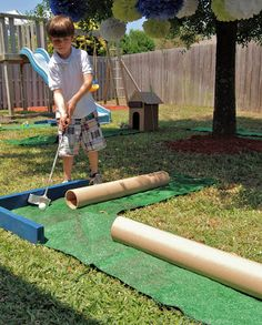 golf ideas diy,golf ideas gifts,golf ideas for him,backyard golf ideas Backyard Games, Outdoor Games, Outdoor Fun, Fall Carnival, Carnival Games, School Carnival, Mini Golf, Fall Festival Games, Outside Games