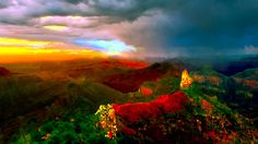 Sunset Imperial Peak North Grand Canyon Panorama  by Bob and Nadine Johnston #sunset #grand #canyon