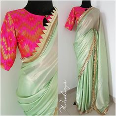 Beautiful mint color designer saree and contrast pink color brocade blouse. Designer saree with gotta work. Brocade Blouse Designs, Saree Tassels Designs, New Blouse Designs, Saree Blouse Neck Designs, Saree Blouse Patterns, Kurta Designs, Trendy Sarees, Stylish Sarees, Fancy Sarees