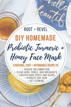 This easy, DIY Probiotic Turmeric Honey Face Mask is an all-natural + effective treatment for acne, anti-aging, dry skin, lightening dark spots + brightening skin tone.