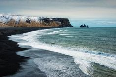Iceland seascape Art Print for sale. Wonderful Reynisfjara black beach, Reynisdrangar cliffs and the water of the ocean. Available as poster, framed print, metal, acrylic, wood or canvas print. Click through and get inspired! Art for your Home Decor and Interior Design by Matthias Hauser.