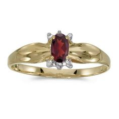 10k Yellow Gold Oval Garnet And Diamond Ring Size 9 * Click image to review more details.Note:It is affiliate link to Amazon.
