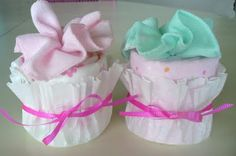 Receiving blanket cupcakes-   Good for a baby shower!
