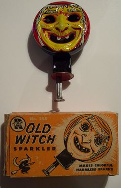 Vintage Halloween Metal Sparkler... I'm so intrigued by this contraption.