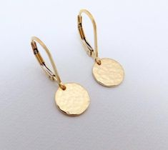 3ca51844c00e Tiny Hammered Gold Earrings Dangle. Free Shipping. 14k Gold Filled Coin  Disc Earrings.