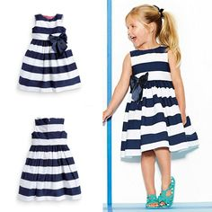 Baby Kid Girls Sleeveless One Piece Dress Blue Striped Bowknot Tutu Dresses Summer Style-in Dresses from Mother & Kids on Aliexpress.com | Alibaba Group