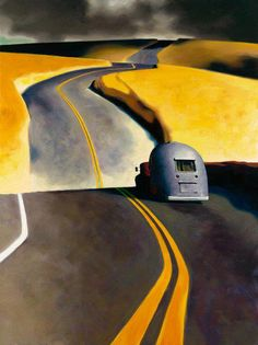 Z. Z. Wei | Love the two-tone qualities of this painting. Plus, it makes me want to take a road trip!