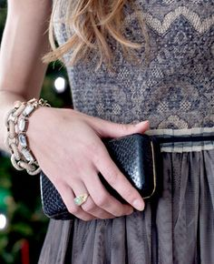 Tulle skirt and lace bodice + black faux leather clutch