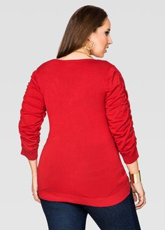 Exposed Zip V-Neck Pullover Sweater - Ashley Stewart