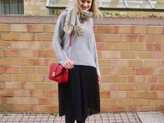 outfit, look, tulle skirt, knit sweater, rose gold, red bag, fashion, style