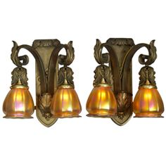 Pair of Gilt Bronze Two Arm Sconces with Hand Blown Steuben Glass