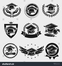 Find Graduation Cap Labels Set Vector stock images in HD and millions of other royalty-free stock photos, illustrations and vectors in the Shutterstock collection. Thousands of new, high-quality pictures added every day. Graduation Cap Drawing, Graduation Logo, College Graduation, Senior Year Of High School, Kawaii Disney, Crest Logo, Shield Design, Café Bar, School Logo