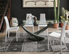 Contemporary oval glass dining table with base in graphite grey 200x115cm - seats up to 8