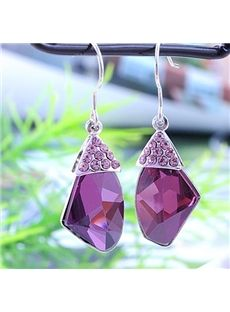 Delicate Purple Rhinestone Lady's Earrings