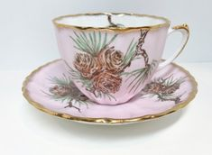 Salisbury Pine Cone Cup and Saucer, English Bone China, Pink Tea Cup, Antique Tea Cup Vintage, English China Cups, Antique Teacup Antique Tea Cups, Vintage Cups, Pink Tea Cups, Pine Cone Decorations, English China, China Tea Sets, Chocolate Cups, My Tea, Tea Cup Saucer