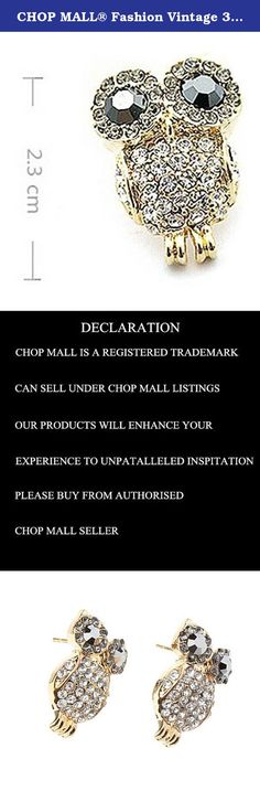 CHOP MALL® Fashion Vintage 3D Rhinestone Cute Owl Stud Earrings. Golden crystal diamond lovely owl earrings. Please allow 20-25 days to arrive。.