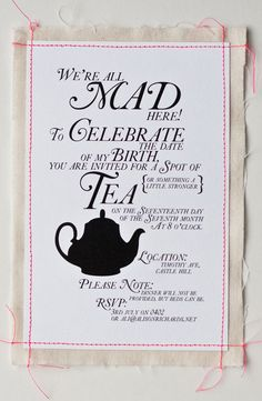 tea party invitation! love this! i had a proper tea party with my (girl) friends for valentine's day when i was a little girl, and it was so adorable. i want to have a grown up one now :)