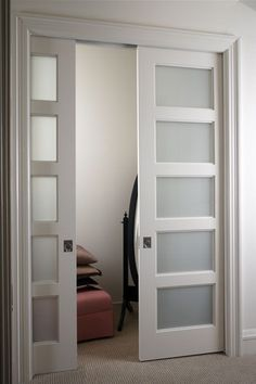 Need to replace the bedroom doors with pocket doors. They are just plain french doors. Sliding Glass Door, Door Design, Interior Barn Doors, Glass Pocket Doors, Bedroom Closet Doors, Closet Bedroom, Room Doors, Remodel Bedroom, French Doors Interior