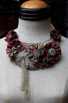 ROSAMOND Statement Bib Mixed Media Necklace in Rose and Silver. $195.00, via Etsy.