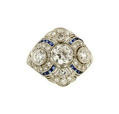 Art deco engagement ring with calibre sapphires, circa 1930, from Doyle & Doyle.
