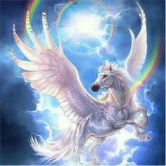 Pegasus is a symbol of knowledge, glory, and inspiration. Through flight, Pegasus symbolizes the ability of one to transcend the weight of earthly burdens and rise above them into the air. Unicorn And Fairies, Unicorn Fantasy, Unicorn Horse, Unicorn Art, Fantasy Kunst, Fantasy Art, Unicorn Pictures, Horse Pictures, Winged Horse