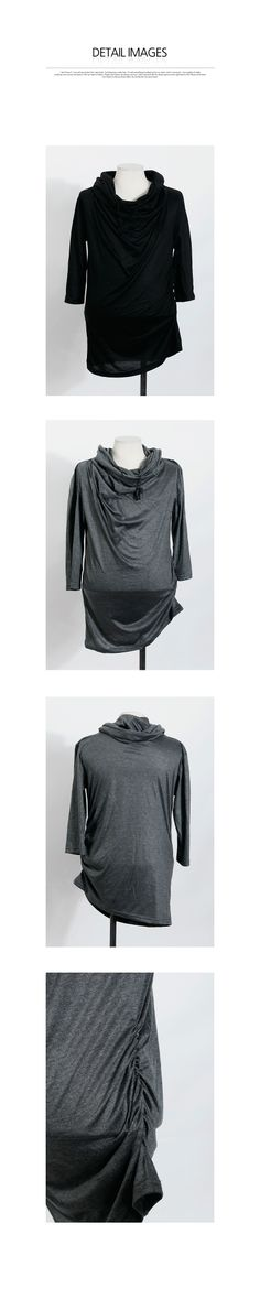 Cowl Neck 3/4 Sleeve Shirred Top Japanese Outfits, Japanese Fashion, Cowl Neck, Ruffle Blouse, Grey, Sleeves, T Shirt, Clothes, Collection