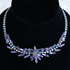 Outstanding Heliotrope Purple and Blue Crystal Necklace - Unsigned Sherman?  from Vintage Jewelry Girl! #vintagenecklace #vintagejewelry