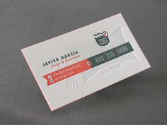 These are the business cards of Javier Garcia, a graphic designer from the USA. The cards have only 3 colors, are letterpressed and debossed. Professional Business Card Design, Unique Business Cards, Creative Business, Business Ideas, Lightroom, Photoshop, Letterpress Business Cards, Business Card Logo, Business Printing
