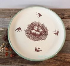 A personal favorite from my Etsy shop https://www.etsy.com/listing/261103380/nest-and-swallow-plate-bird-nest-dish