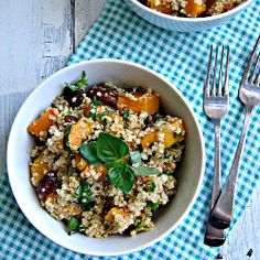 Quinoa with Roasted Butternut Squash and Pecans.  It's gluten/vegan/vegetarian friendly!