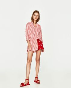 Discover the new ZARA collection online. High Street Fashion, Zara, Striped Shirt Dress, Red Stripes, Playsuits, What To Wear, Casual Outfits, Womens Fashion, Fashion Tips