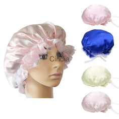 84fc2e35374 Womens Lace Soft Silk Night Sleep Cap Sleeping Beanie Hat Cap For Hair Care