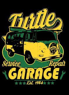 TURTLE GARAGE shop repairs cowabunga  funny comical mashup  mens t-shirt tee