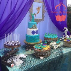 Beautiful Little Mermaid birthday party! See more party ideas at CatchMyParty.com!