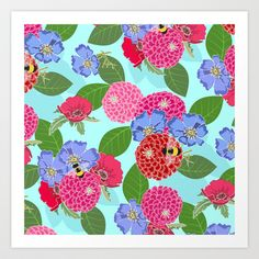 Melody's+Zinnias+Bright+Floral+with+a+Bumble+Bee+Art+Print+by+Shelly+Penko+-+$15.98