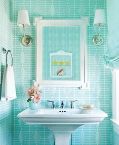 Turquoise wallpaper #Housekaboodle, #House Beautiful