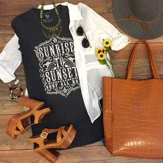 Summer vibin'  Hurry in stores until 8pm...  Billabong Tunic ($29.95 at #4thandocean- in store only)   Double Pocket White Button Down ($28.99 at #tria)   Walk Tall Strappy Heel ($32.99 at #statements)   Urban Traveler Tote Camel ($79.99 at #tria)   Call 844.232.7364 ext 3 to order the tunic! All other items available in store or online! Order now! We ship F R E E ! XO #sophieandtrey #shop #trend #cute #love #fashion #ootd #musthave #adorable