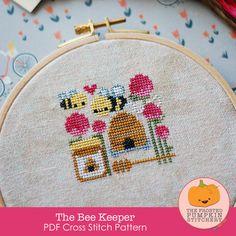 The Bee Keeper PDF Cross Stitch Pattern / The Frosted Pumpkin Stitchery