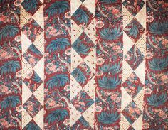 An early/mid century English block printed cotton patchwork quilt Victorian Quilts, Antique Quilts, Vintage Quilts, Century Textiles, Civil War Quilts, Medallion Quilt, Old Quilts, Fabric Birds, Textile Prints