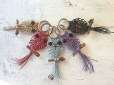 Keychains with little macramè owls.